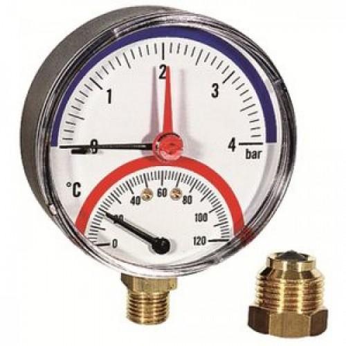 Термоманометр нижн. подкл.1/2 Ø80мм 120ºC 6 бар