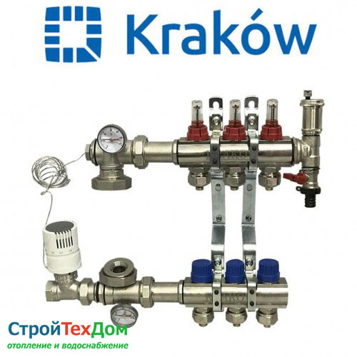 Коллектор для теплого пола KRAKOW на 3 контура (ПОЛЬША)
