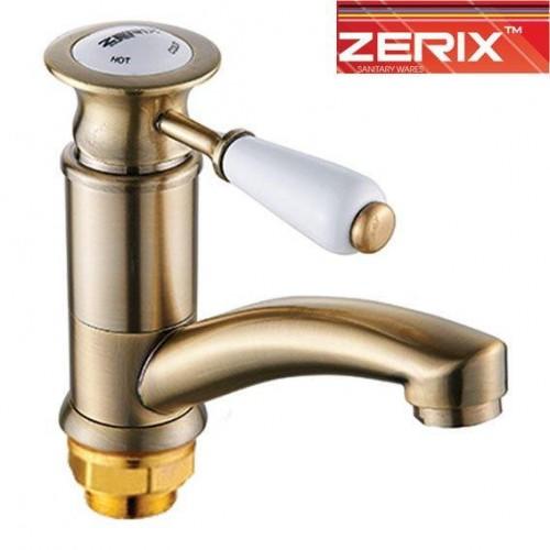 Смеситель для умывальника елка на гайке 15 см Zerix Z4517-2 Bronze (Chr-004)