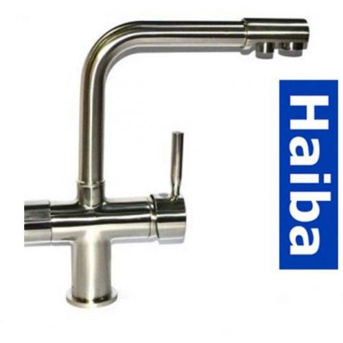 Смеситель для кухни Ухо HAIBA HANS RS-021 с дополнительным краном под осмос (нержавейка)