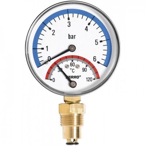 """Термоманометр с запорным клапаном (1/2"""" 0-6)"""