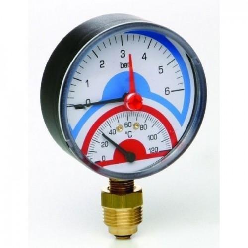 """Термоманометр радиальный с запорным клапаном (1/2"""" 0-6)"""