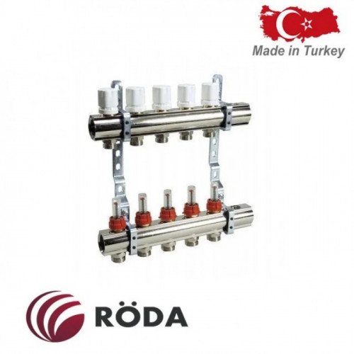 Группа коллекторная Roda с расходомером и термоклапанами 7 выходов