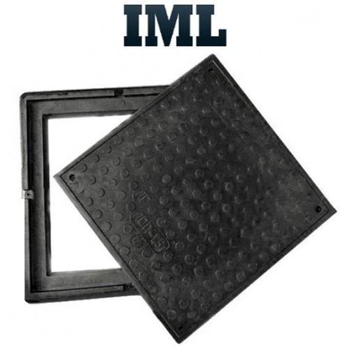 Смотровой (канализационный) люк квадратный полимер-песчаный черный до 1,5т 640/560