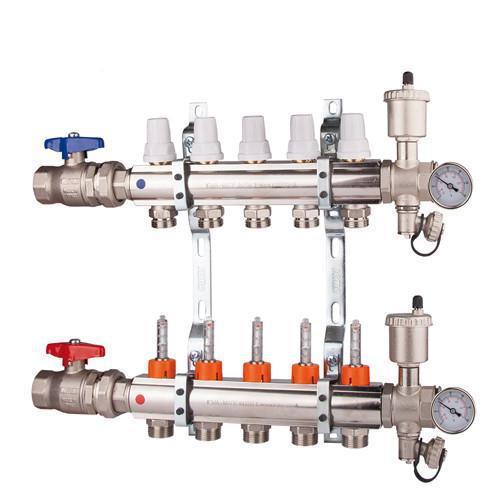 Коллектор  регулировка ручная или терморегулирующая на 5 выходов
