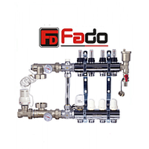 Коллектор для теплого пола Fado на пять контуров в сборе с байпасом