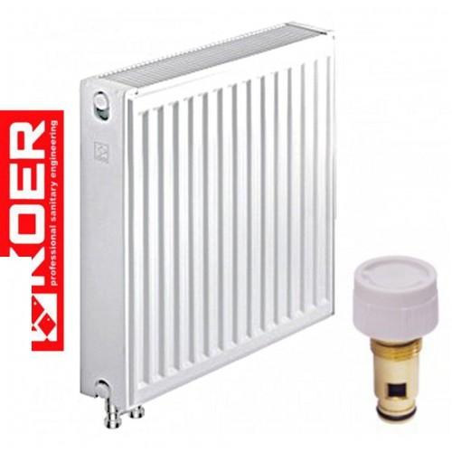 Стальные радиаторы Koer 22 тип 500*1300 Чехия VK (нижнее подключение) с термоклапаном