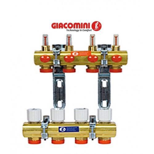 Коллектор Giacomini для систем отопления с лучевой разводкой на 6 контуров