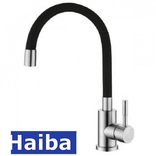 Смеситель для кухни Ухо HAIBA Sus 011 Black (черный) рефлекторный излив из нержавеющей стали