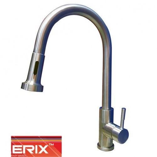 Смеситель для кухни Ухо Zerix LR76005-1 с выдвижной лейкой (нержавейка)