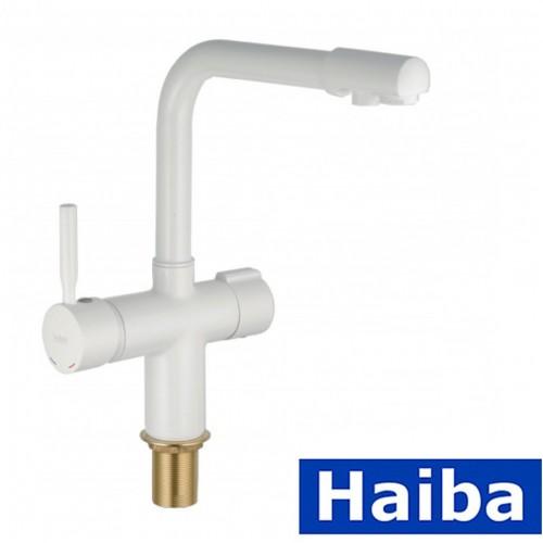Смеситель для кухни Ухо HAIBA HANS White-021 с дополнительным краном под осмос (белый)