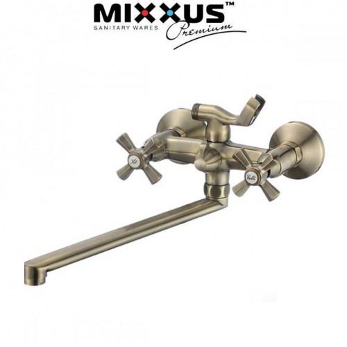 Смеситель для ванны длинный нос Mixxus Premium Retro Bronze Euro (Chr-140)