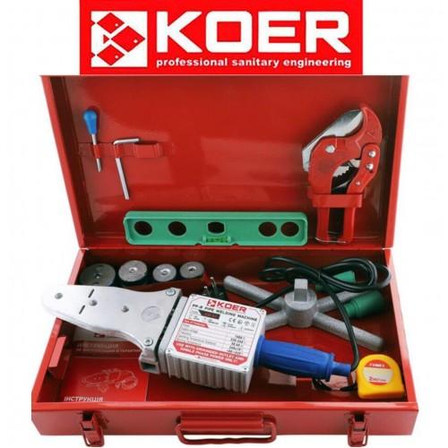 Паяльник для полипропиленовой трубы KOER SET-03 (1500Вт,4 насад,ножн,рулетка,2 заглуш,уровень)