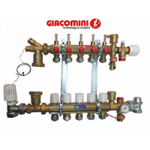 Коллектор для теплого пола Giacomini в сборе на 5 контуров