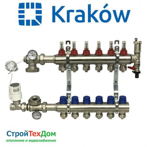 Коллектор для теплого пола KRAKOW на 6 контуров (ПОЛЬША)