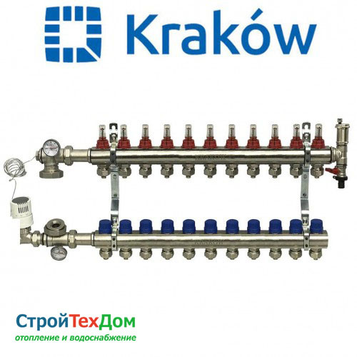 Коллектор для теплого пола KRAKOW на 11 контуров (ПОЛЬША)