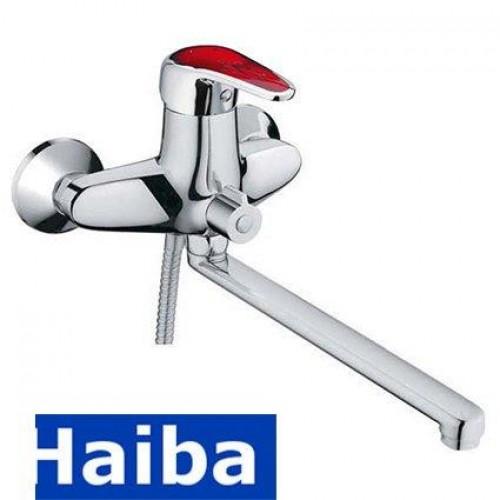 Смеситель для ванны длинный нос HAIBA MAGIC RED EURO (Chr-006)