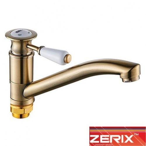 Смеситель для кухни елка на гайке 25см Zerix Z4917-2 Bronze (Chr-004)