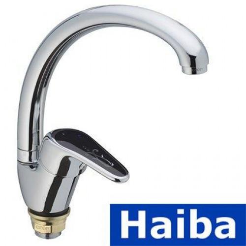Смеситель для кухни Ухо на гайке HAIBA MAGIC BLACK Chr-777 (nut)