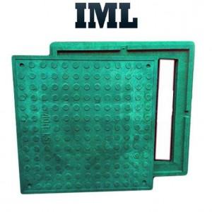 Смотровой (канализационный) люк квадратный полимер-песчаный зеленый до 1,5т 640/560
