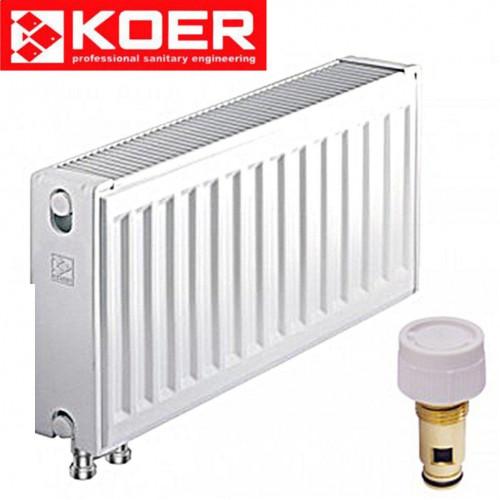 Стальные радиаторы Koer 22 тип 300*1600 Чехия VK (нижнее подключение) с термоклапаном