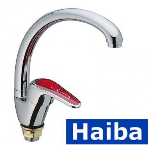 Смеситель для кухни Ухо на гайке HAIBA MAGIC Chr-777 RED (nut)