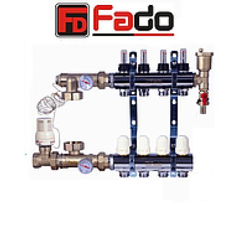 Коллектор для теплого пола Fado на пять контуров в сборе