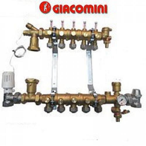 Модульный коллекторный узел Giacomini для систем отопления на 8 контуров