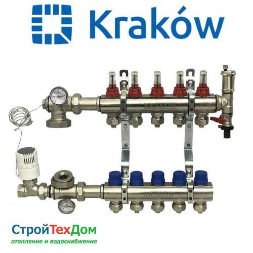 Коллектор для теплого пола KRAKOW на 5 контуров (ПОЛЬША)