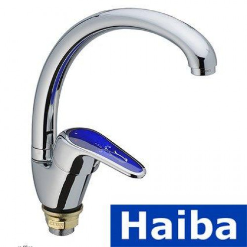 Смеситель для кухни Ухо на гайке HAIBA MAGIC Chr-777 BLUE (nut)