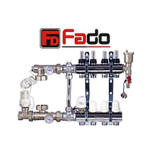 Коллектор для теплого пола Fado на двенадцать контуров в сборе с байпасом