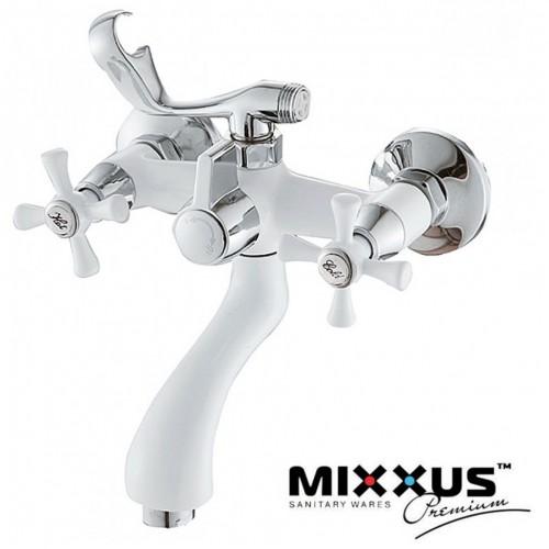 Смеситель для ванны короткий нос Mixxus Omega White (белый) Euro (Chr-142)