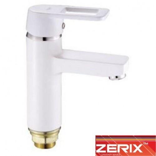 Смеситель для умывальника на гайке Zerix 1030-7  White (Chr-001)