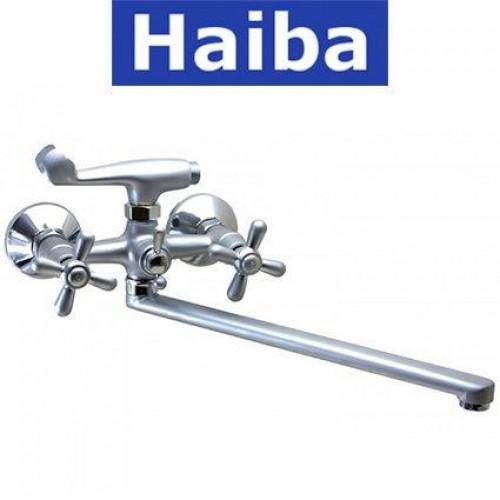 Смеситель для ванны длинный нос HAIBA DOMINOX SATIN EURO (Chr-140)