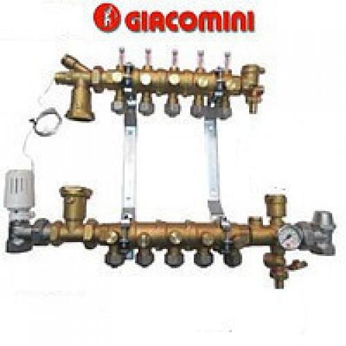 Модульный коллекторный узел Giacomini для систем отопления на 5 контуров