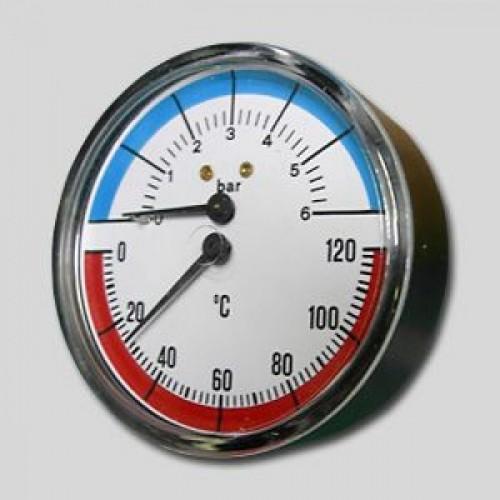Термоманометр задн. подкл. 1/2 Ø80мм 120ºC 6 бар