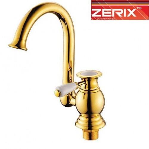Смеситель для кухни Ухо на гайке Zerix Z7017-4 (Chr-011) (Золото)