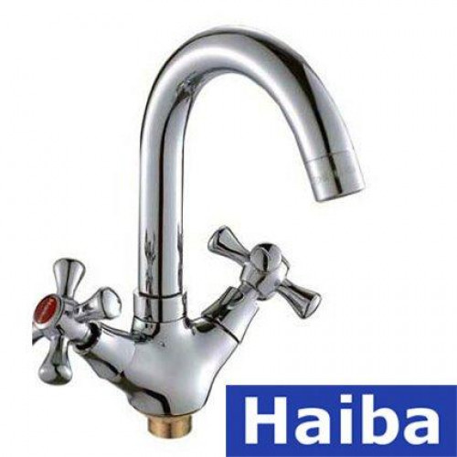 Смеситель для умывальника на гайке HAIBA SMES (Chr-274)