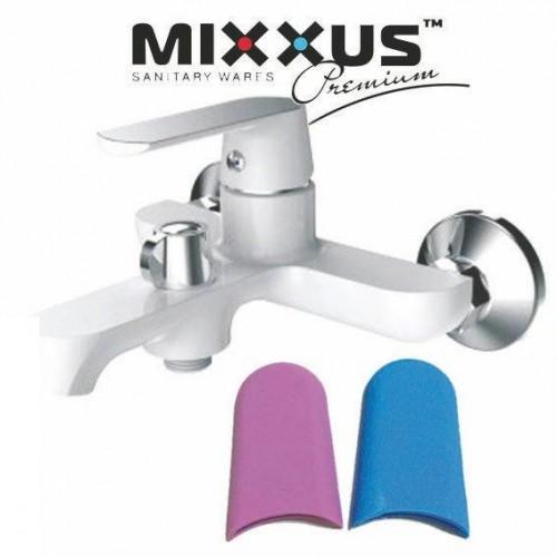 Смеситель для ванны короткий нос MIXXUS Premium Tiger Euro White (белый) (Chr-009), Польша