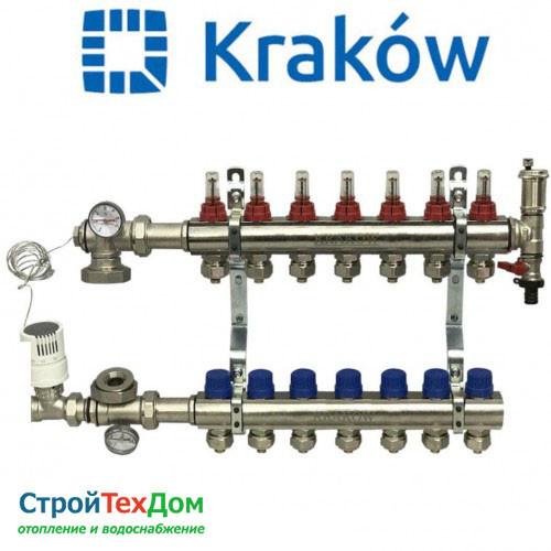 Коллектор для теплого пола KRAKOW на 7 контуров (ПОЛЬША)